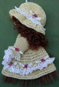 Free crochet pattern for this cute sunbonnet sue broom doll