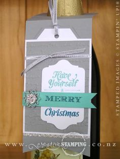 These tags are a fun way to dress up a bottle for giving.  www.creativestamping.co.nz