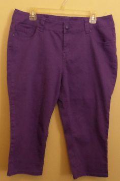 Purple capris by Lane Bryant. Stretch denim material. Plus size 1x 16. #ThePlusSide