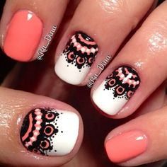faux lace nail art designs with two accented pink/peach nails! Get Nails, How To Do Nails, Hair And Nails, Lace Nail Art, Lace Nails, Gorgeous Nails, Pretty Nails, Amazing Nails, Nails Polish