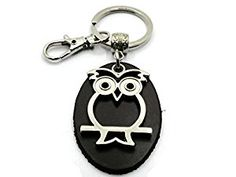 Items similar to BrownBeans, Lucky Owl Silver Tone Keychain Key Chain Keyring Fob Holder with Small Clip on Etsy My Etsy Shop, Owl, Homemade, Personalized Items, Key Chain, Unique Jewelry, Handmade Gifts, Silver, Leather