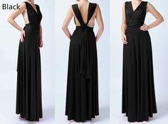 Black Long Bridesmaid Convertible Dress Infinity Dress Multiway Dress Wrap Dress Wedding Dress
