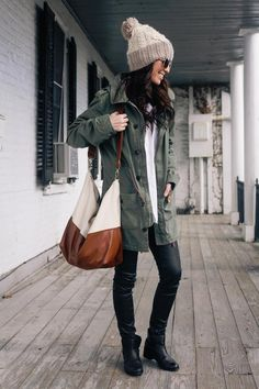 Fall outfit. I would loves a cozy Army jacket