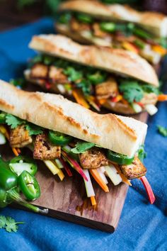 This Vegetarian Tofu Banh Mi Sandwich tastes just like the real deal but is animal product free and SO delicious. Tofu Dinner Recipes, Best Tofu Recipes, Entree Recipes, Good Healthy Recipes, Veggie Recipes, Real Food Recipes, Vegetarian Recipes, Lunch Recipes, Delicious Recipes