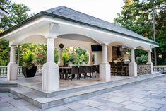 Backyard Pavilion, Outdoor Pavilion, Backyard Gazebo, Pool House Designs, Backyard Patio Designs, Outdoor Kitchen Patio, Outdoor Kitchen Design, Outdoor Living Rooms, Luxury Homes Dream Houses