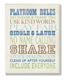 Blue Playroom Rules Typography Wall Plaque
