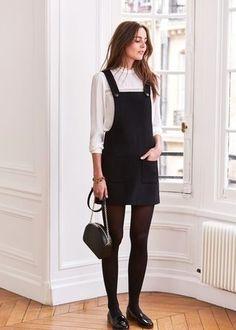 Considera emparejar un pichi negro junto a una blusa de manga larga blanca para una vestimenta cómoda que queda muy bien junta. Mocasín añaden la elegancia necesaria ya que, de otra forma, es un look simple.