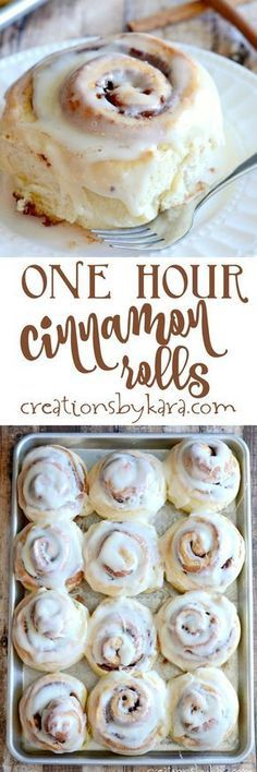 Recipe for absolutely scrumptious cinnamon rolls that are ready in one hour!