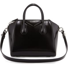 Givenchy Antigona Small Leather Satchel Bag (53.875 CZK) ❤ liked on Polyvore featuring bags, handbags, purses, bolsas, accessories, bolsos, black, real leather handbags, satchel purse and black leather handbags