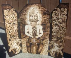 Thor Thunor Wood-Burning Triptych Altar