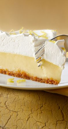 When life gives you lemons, it means you should make our Lemon Cream Pie! Beat egg yolks then add our sweetened condensed milk & lemon juice. Pour into crust, bake, then spread whipped topping over pie. Garnish with lemon peel & serve! Lemon Dessert Recipes, Cream Pie Recipes, Great Desserts, Lemon Recipes, Sweet Recipes, Baking Recipes, Delicious Desserts, Cake Recipes, Pear And Almond Cake