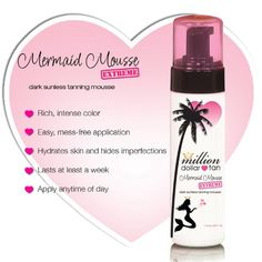Million Dollar Tan's Mermaid Mousse Extreme Dark Sunless Tanning Mousse 7.2oz Bottle