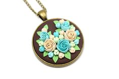 Floral Pendant Necklace with Roses and Flowers Turquoise Pendant Beige Mint Blue Flowers Round Pendant Floral Jewelry Feminine Necklace