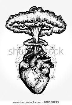 Illustration of Heart and nuclear explosion tattoo art. Symbol of love, feelings, energy. Nuclear explosion of anatomical heart t-shirt design surreal graphic vector art, clipart and stock vectors. Tattoo Sketches, Tattoo Drawings, Drawing Sketches, Sketch Tattoo Design, Shirt Drawing, Fake Tattoos, Body Art Tattoos, Small Tattoos, Ship Tattoos