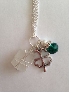 White Sea Glass Charm Necklace with Four Leaf by DayDreamingDecor, $15.00