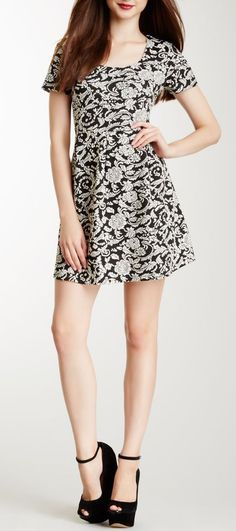Woven Knit Jacquard Skater Dress