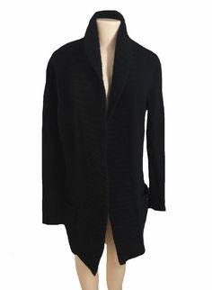Sutton Studio Black Open Front Cashmere Knit Cardigan Size Medium  | eBay