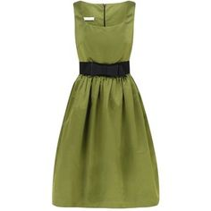Classic Fifties Inspired Silk Dress ~ The wonderful olivey/pea green colour of the Italian Duchess Silk Satin is divine.