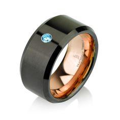 Aquamarine Black Tungsten Ring Rose Gold Wedding by BravermanOren