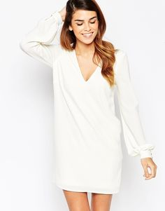 ASOS Shift Dress with V Front and Bell Sleeves