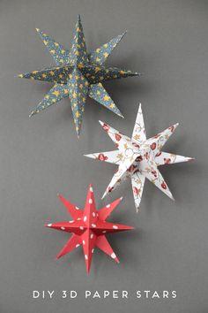 DIY 3D PAPER STAR CHRISTMAS DECORATIONS.