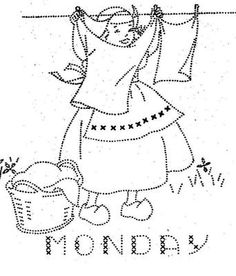 Monarch 205 Dutch Girls for Days of the Week Towels. A 1940s hand embroidery pattern.