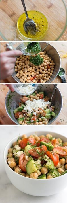 We just love this chickpea salad recipe with bright lemon, fresh dill, crisp cucumber and sweet tomatoes. To make it, we use canned chickpeas, so this one is extra easy. From inspiredtaste.net - @inspiredtaste #ensaladas