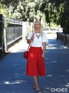 Red High Waist Pocket Skater Midi Skirt | Choies