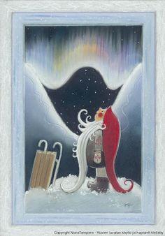 Finland at Christmas Vintage Christmas Cards, Christmas Photos, Xmas Cards, Christmas Gnome, Winter Christmas, Scandinavian Gnomes, Funny Drawings, Christmas Illustration, Winter Fun