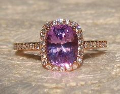 GIA Certified 2.3 Carat Untreated Purple Sapphire in Rose Gold Diamond Halo Engagement Ring, by JuliaBJewelry
