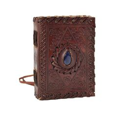 Lapis Lazuli Stone Inlay Small Leather Journal