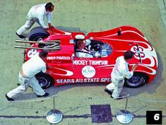 """1964 - Dave McDonald's ( Mickey Thompson's Streamed Lined, Ford/Rear Engine """"Sears-Allstate Special"""" – Do to the Wheel Encasement's the Car was Very Unstable at Speed. The Tops of the Front Fenders were Removed in an Attempt to Alleviate this. Indy Car Racing, Sports Car Racing, Indy Cars, F1 Lewis Hamilton, Classic Race Cars, Indianapolis Motor Speedway, Old Race Cars, Vintage Race Car, Car And Driver"""