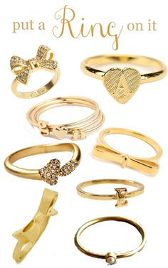 Rings from Kate spade, j crew, House of Harlow, etc.
