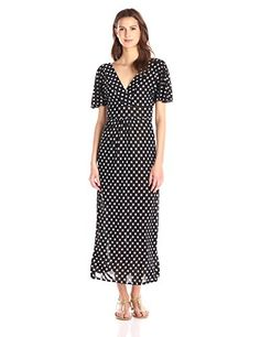Star Vixen Womens Short Sleeve Surplice Flutter Maxi Dress BlackWhite Dot Small * You can find out more details at the link of the image.