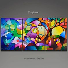 Abstract art triptych, giclee prints from my original geometric painting, acrylic painting, geometric art, large wall art Geometric Painting, Abstract Landscape Painting, Landscape Paintings, Abstract Paintings, Painting Art, Abstract Painting Techniques, Geometric Artwork, Landscape Photos, Painting Prints