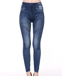 Fake Jean printed Leggings Women 2017 high elastic jeggings fake jeans womens leggings with 2 pockets casual  fasion leggins