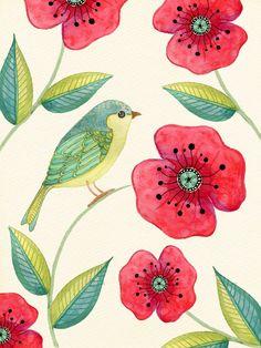 Little green bird. Little green bird. Art Floral, Motif Floral, Watercolor Bird, Watercolor Paintings, Watercolours, Bird Illustration, Illustrations, Bird Drawings, Bird Pictures