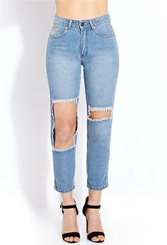 Favorite Destroyed Boyfriend Jeans | FOREVER21 - 2000088121