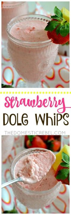 These Strawberry Dole Whips taste like Disney's famed pineapple whips but with a delightfully sweet strawberry flavor! SO easy to make, comes together in minutes and only requires a blender!