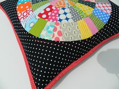 Cutest round modern patchwork pillow