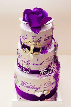Purple Wedding Cake Card.