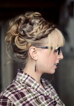 WOW! An amazing new weight loss product sponsored by Pinterest! It worked for me and I didnt even change my diet! Here is where I got it from cutsix.com - braided updo with bangs