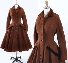 Vintage 40s 50s LILLI ANN Princess Coat 1950s Mocha Brown Eyelash Wool Velvet Dress Coat Wasp Waist Fit Flare Full Circle Skirt M Medium