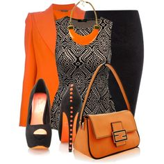 My favorite outfit, hands down! Nice Orange and Black schemed Work Outfit Komplette Outfits, Fashion Outfits, Womens Fashion, Fashion Trends, Classy Outfits, Fashion 101, Skirt Outfits, Fashion Styles, Fashion Ideas