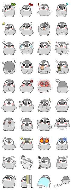 Penguin Meme, Penguin Bird, Penguin Party, Penguin Craft, Kawaii Drawings, Cute Drawings, Cute Penguins, Line Sticker, Cute Illustration