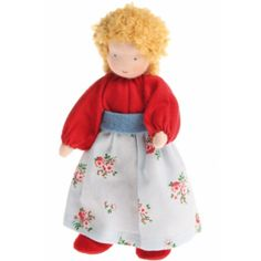 Small Family Waldorf Dolls - Mother, Blonde Hair. Made in Europe of cotton and wool. $37.95