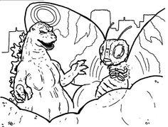 Colorear Godzilla y Mothra - GODZILLA DAY! - godzilla and mothra coloring web page Colorear Godzilla y Mothra Free Coloring Pages, Coloring Sheets, Adult Coloring, Coloring Books, Colouring, Godzilla Party, Godzilla Birthday Party, Godzilla Godzilla, Butterfly Coloring Page