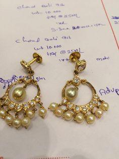 13gm Diamond Earrings Indian, Gold Jhumka Earrings, Jewelry Design Earrings, Gold Earrings Designs, Beaded Jewelry, Mens Gold Jewelry, Gold Jewelry Simple, Simple Earrings, Beautiful Earrings