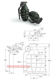 Autocad Modeling Tutorial Grenades Exercise 34 - picture for you Autocad Isometric Drawing, Isometric Drawing Exercises, Plan Autocad, 3d Autocad, Autocad 2016, Mechanical Engineering Design, Mechanical Design, Mechatronics Engineering, Autocad 3d Modeling