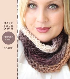 time for a super easy winter craft: the finger-knit scarf! i& noticed a few pins about how to make these, and then my sister& friend sara. Diy Finger Knitting, Finger Knitting Projects, Arm Knitting, Knitting Patterns, Crochet Patterns, Scrap Yarn Crochet, Crochet Scarves, Knit Crochet, No Sew Scarf